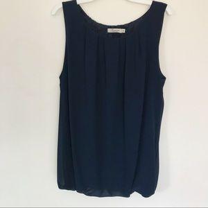 Francesca - Medium Navy Blue Sleeveless Blouse